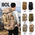 Hongyi 80L Large Capacity Hike Backpack Military Tactical Backpack Waterproof Nylon Rucksack Camping Hiking Backpack Sport Shoulder Bag for Outdoor - Black