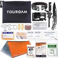 TOUROAM Outdoor First Aid Survival Kit for Adventure Camping Hiking Fishing - Trauma Emergency Bag and Survival Gear Kit 62 in 1 for Women Men SOS Kit