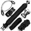 Survival Paracord Bracelet 7-in-1 Emergency Tactical Survival Gear Kit for Camping, Fishing, Hunting & Outdoors Multipurpose Survival Tool 550, Whistle, Flint Fire Starter (Black, Adjustable)