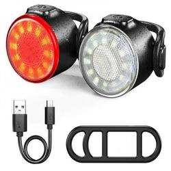 Newway USB Rechargeable Bike Lights Set, Super Bright LED Bicycle Lights Front and Rear Waterproof Safety Warning Light Bicycle Light Accessories