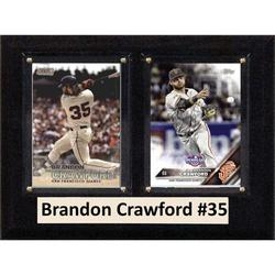 """C & I Collectables MLB 6"""" x 8"""" Brandon Crawford San Francisco Giants Two-Card Plaque"""
