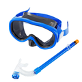 IM Beauty Kids Snorkel Set,Semi-Dry Diving Mask Anti-Leak Snorkeling Package Set,Anti-Fog Snorkeling Gear Free Breathing 180 Degree Panoramic View for Youth Junior Child,Blue