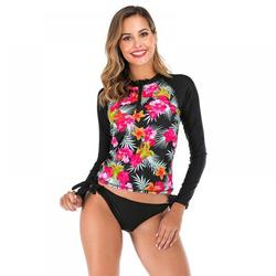 Lrun Two Piece Women Rash Guard Floral Long Sleeve Zipper Sunshade Beach Surfing Diving Bathing Suit Swimsuit Swimwear
