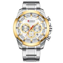 CURREN 8361 Quartz Man Wristwatch Watch for Male Men Watches with Calendar Indicator Date Waterproof Luminous Hands Three Sub-Dials Second Minute Microsecond Chronograph Stainless Steel Strap Band Wea