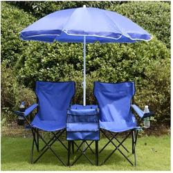 Portable Camping Chair, 2-Seat Folding Outdoor Camp Chair, Outdoor Portable Chairs with Removable Sun Umbrella, Folding Camp Loveseat Chairs for Outdoors, Outdoor Chairs Folding Chair, Blue, R062