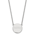 LogoArt Sterling Silver Rhodium-plated MLB San Diego Padres Large Disc Pendant with Necklace
