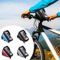 Bike Phone Front Frame Bag -Handlebar Bag Mountain Bicycle Phone Waterproof Bike Front Tube Handlebar Pannier Phone Bag Bicycle Bag with Touch Screen Phone Case for iPhone 8/7 plus/7/6s/6 plus