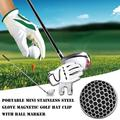 Tebru Golf Ball Markers, Portable Mini Stainless Steel Glove Magnetic Golf Hat Clip with Ball Marker, Golf Hat Clip