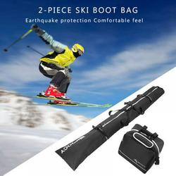 Saient Ski Bag and Ski Boot Bag Combo - Ski Bags for Air Travel - Unpadded Snow Ski Bags Fit Skis Up to 200cm for Men, Women, Adults, and Children