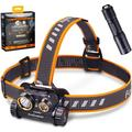 Fenix HM65R 1400 Lumen Rechargeable Headlamp with E01 V2.0 EDC Flashlight, POWERFUL DUAL BEAM - The HM65R has a max output of 1400 lumens. The spotlight.., By Brand Fenix