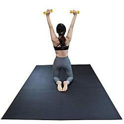Large Exercise Mat 6 x 4 feet (72' x 48' x 1/4') 6 mm Thick & High Density Mat for Home Cardio and Yoga Workouts, Durable Gym Floor Mat, Black