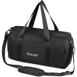 BALEINE Duffle Bag for Sports, Gym, Overnight and Weekend Getaway. Waterproof Dufflebag with Shoe and Wet Clothes Compartments. Lightweight Carryon Sized Gymbag, Weekender Travel Bag (Black)