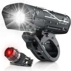 1000 Lumen USB Rechargeable Bike Light Set, 3 LED Bike Headlamp Super Bright Headlight IPX5 Waterproof Bicycle Safety Flashlight 360° Rotation 3-Switch Modes w/ Free Tail Light- Riding Cycling Camping