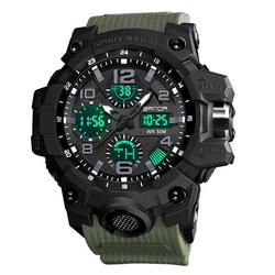 Men's Analog Sports Watch, Military Waterproof Digital Sports Watches, LED Screen Large Face Stopwatch Alarm Wristwatch with Two Timezone Back Light Calendar Day Date, Black/Green