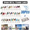 30 PCS Fishing Lures Kit, Colorful Metal Fishing Lures Spinner Baits Bass Tackle, Hard Baits for Bass, Trout, Fit Saltwater and Freshwater, Length from 0.98-1.57 Inches (Assorted)