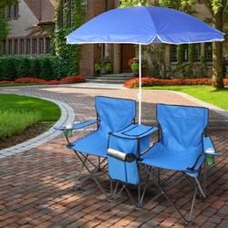 Double Portable Picnic Chair, Folding Camping Chair W/Umbrella Cup Holder Carrying Bag Cooler Pouch, Lightweight Portable Loveseat Chairs, Outdoor Folding Beach Camping Chair for Patio Pool Park, T127