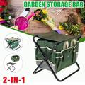 Foldable Garden Tool Seat Camping Chairs, Multi-Pocket Foldable Stool Bag With Storage Bag, Garden Seat Tool Large-Capacity Carrying Bag With Canvas Storage Kit, For Outdoor Terraces