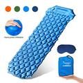 SYOURSELF Inflatable Sleeping Pad,Self-Inflating Camping Mat- Ultralight Compact Waterproof Foldable TPU Air Mattress Pads for Backpacking,Travel,Hiking,Tent,Beach,Outdoor + Eye Mask(Blue)