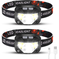 Foxdott Rechargeable Headlamp 2 Packs, LED Headlamp, Head Lamps for Adults, Flashlight with White Red Lights, USB Rechargeable Waterproof Head Lamp for Outdoor Camping Cycling Running Fish