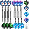 CyeeLife Steel Tip Darts Set 18 Grams with PC Dart shafts(Black),Black&Sliver Barrels