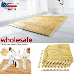 6 Pcs/Set 24 Square Feet EVA Foam Floor Interlocking Mat Show Floor Yoga Fitness Gym Exercise Mat Wood Color wood