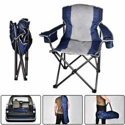 Oversized Camping Chair With Cooler Bag Folding Camping Portable Chair Steel Frame Collapsible For Camping, Fishing, Beach Parties, Picnics, Barbecues Or Sports
