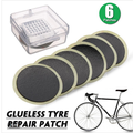 Chainplus Bicycle Bike Tire Inner Tube Puncture Rubber Patches Repair Kit, 6 Pieces Bicycle Tube Puncture Rubber Patches with Metal Rasp Sandpaper and Portable Case for Bike Tire Puncture Repair
