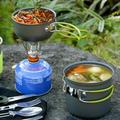 Camping Cookware Kit Backpacking Cookset Lightweight Pot Pan Kettle Fork Knife Spoon Kit for Outdoor Camping Hiking Picnic
