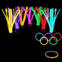 """JosLiki 100 Glow Sticks Bulk Party Supplies - Glow in The Dark Fun Party Pack with 8"""" Glowsticks and Connectors for Bracelets and Necklaces for Kids and Adults"""