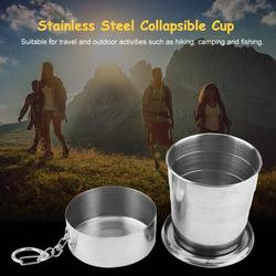 Kritne Portable Outdoor Cup, Stainless Steel Collapsible Cup,Portable Outdoor Stainless Steel Collapsible Folding Cup for Traveling Camping with Key Chain