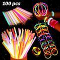 BESTOYARD 100 Pcs Multi-color Fluorescent Light Sticks Glasses Headbands Glow Sticks Fluorescent Bracelets Necklaces Set for Festivals Parties