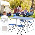 Ajustable Folding Table with 4 chairs, Centerfold Alumimum Portable Camping Table for Ourdoor or Indoor Use, White/Blue,47 X 24 inches