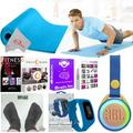 Exercise and Fitness Floor Gym Workouts Bundle with 5mm Mat, Weighing Scale, JBL Bluetooth Speaker, Online Training Classes and Calorie Burn Activity Tracker