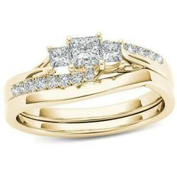 KABOER Women Ladies 18K Gold Natural White Sapphire Diamond Ring Set Anniversary Christmas Gift Engagement Bridal Wedding Jewelry Rings Size 6-10