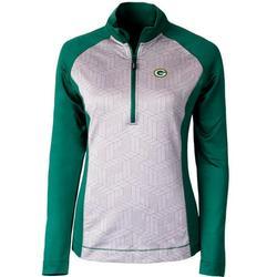 Green Bay Packers Cutter & Buck Women's All-Star Printed Half-Zip Pullover Jacket - Gray/Green