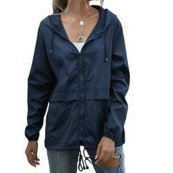 MELLCO Women Waterproof Jacket Zipper Fully Taped Seams Rain Coat Spring Autumn Parka (Dark Blue, 2XL)