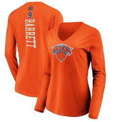 RJ Barrett New York Knicks Fanatics Branded Women's Playmaker Name & Number Long Sleeve V-Neck T-Shirt - Orange