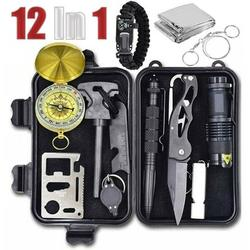 MDhand Emergency Survival Kit 12 in 1,Outdoor Survival Gear Tool with Survival Bracelet, Folding Knife,Emergency Blanket, Fire Starter, Whistle, Tactical Pen for Camping, Hiking, Climbing