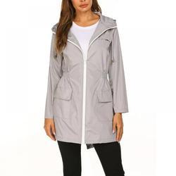 Monfince Womens Lightweight Raincoat Waterproof Jacket Long Rain Jackets Active Rainwear Jacket for Outdoor Hooded Outdoor Hiking