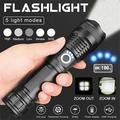 90000 Lumens Powerful LED Flashlight, Rechargeable Waterproof Searchlight XHP50 Super Bright 5 Modes LED Flashlight USB Zoom Bar Torch XHP70 for Hiking Hunting Camping Outdoor Sport (Battery Included)