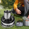 Mgaxyff 8-piece Stainless Steel BBQ Bowl Camping Cookware Picnic Portable Outdoor Folding Pot Set,Outdoor Cookware,Stainless Steel BBQ Bowl