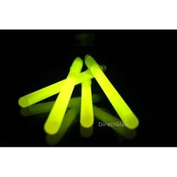25- 4 Inch 10mm Yellow Glow Stick Necklace W/lanyards, 25 Yellow 4 inch 10mm glow sticks with lanyards per unit purchased. By DirectGlow LLC,USA