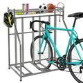 Three Bike Parking Racks Round Tube Version 4 Hooks 1 Detachable Long Frame Black