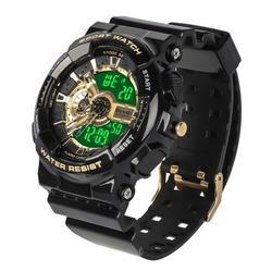 Men's Digital Sports Watch, Military Electronic Quartz Watch, LED Screen Large Face Stopwatch Alarm Wristwatch, Dual-Display Waterproof Sports Digital Watch with Back Light Calendar Day Date