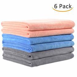 "JML Bath Towel, Microfiber 6 Pack Towel Sets (27 x 55"") - Extra Absorbent, Fast Drying Multipurpose Use as Bath Fitness Towel, Sports Towels, Yoga Towel, Orange Grey Light Blue"