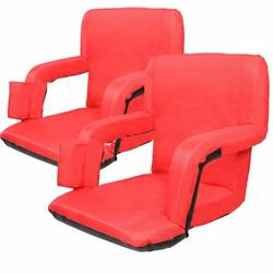 Piscis Stadium Seat, Stadium Seat Cushion with Back Support, Comfy Cushion, Stadium Chair Bleacher Seat for Sport Events Beaches Camping Concerts, Red 2 Pack
