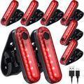 8 Pieces LED Bike Light Bicycle Rear Light Bike Tail Light Cycling Safety Flashlight Bright USB Rechargeable Bicycle Taillights 330mAh Lithium Battery with 4 Modes and 8 USB Cables for Most Bikes