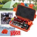 SAITI 7-Piece Outdoor Survival Kit Multifunctional Emergency Equipment Supplies First Aid Survival Tool Camping Updated Tactical Tool Packaging Box