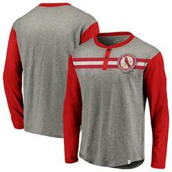 St. Louis Cardinals Fanatics Branded Big & Tall True Classics Stripe Henley Long Sleeve T-Shirt - Gray/Red