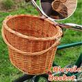 Handlebar Bike Basket, Front Handlebar Storage Basket, Retro Rattan Wicker Bicycle Basket Shopping Storage Bicycle